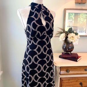 Halter Cut Black Cocktail Dress L